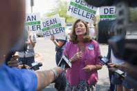 U.S. Rep. Shelley Berkley, D-Nev., holds a news conference in the parking lot of Palo Verde High School before a rally for Republican vice presidential candidate Paul Ryan at the school, Aug. 14, 2012. Berkley is running for U.S. Senate against Sen. Dean Heller, R-Nev.