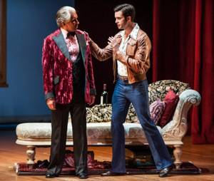 """La Cage Aux Folles"" starring George Hamilton at Reynolds Hall in the Smith Center for the Performing Arts on Tuesday, Aug. 14, 2012. Hamilton, left, is pictured here with Michael Lowney."