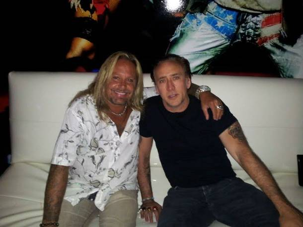 Vince Neil and Nicolas Cage at Vince Neil's Girls, Girls, Girls.