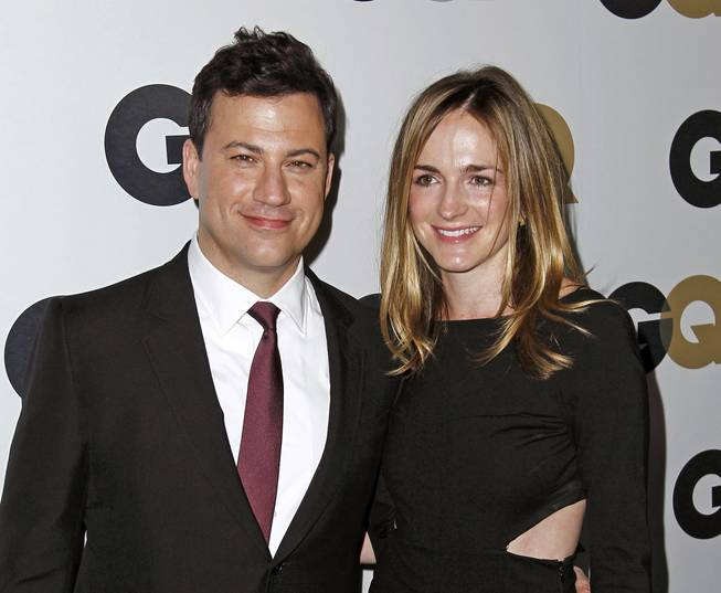 Jimmy Kimmel and Molly McNearney arrive at the GQ Men of the Year party Thursday, Nov. 17, 2011, in Los Angeles.