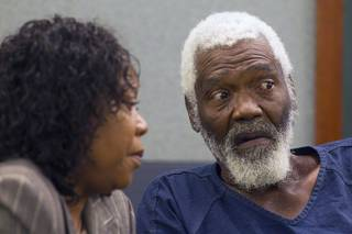 Nathaniel Burkett, right, speaks with Special Public Defender Alzora Jackson in court at the Regional Justice Center Thursday, Aug. 16, 2012.  Burkett now is suspected of killing three Las Vegas women decades ago.