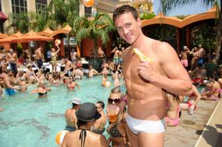 Olympic gold medalist Ryan Lochte celebrates at Tao Beach in the Venetian on Friday, Aug. 17, 2012.