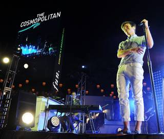 Fun. frontman Nate Ruess performs at the Cosmopolitan's Boulevard Pool on August 16.