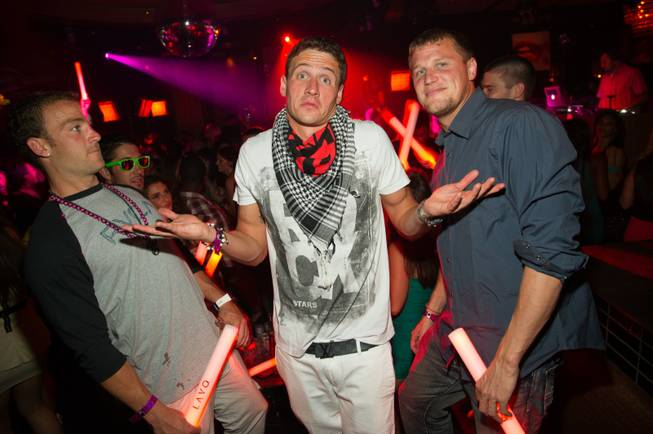 Ryan Lochte, center, with friends at Lavo in the Palazzo ...