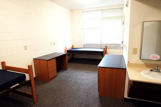 A triple dorm room inside the Dayton Complex for freshman students on the campus of UNLV in Las Vegas on Wednesday, August 22, 2012.