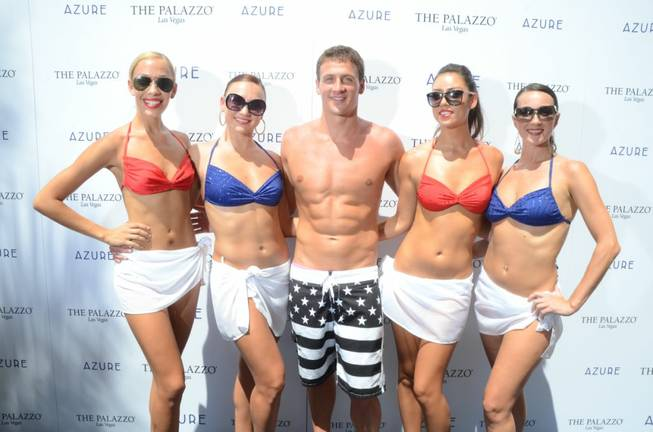 Ryan Lochte at Azure Luxury Pool in the Palazzo on ...