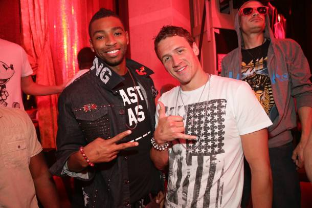 Cullen Jones and Ryan Lochte at XS in the Encore on Sunday, Aug. 19, 2012.