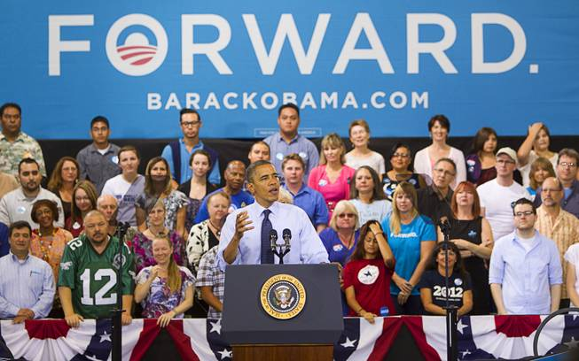 President Barack Obama speaks during a rally at Canyon Springs High School in North Las Vegas Wednesday, Aug. 22, 2012.