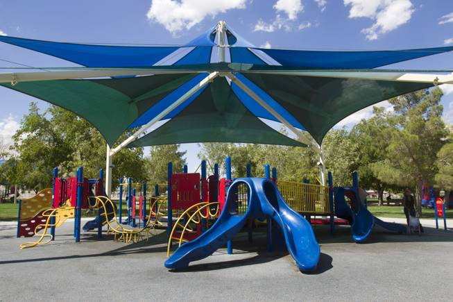A covered play area in Lorenzi Park on Washington Avenue between Rancho Drive and Valley View Boulevard Sunday, Aug. 26, 2012.
