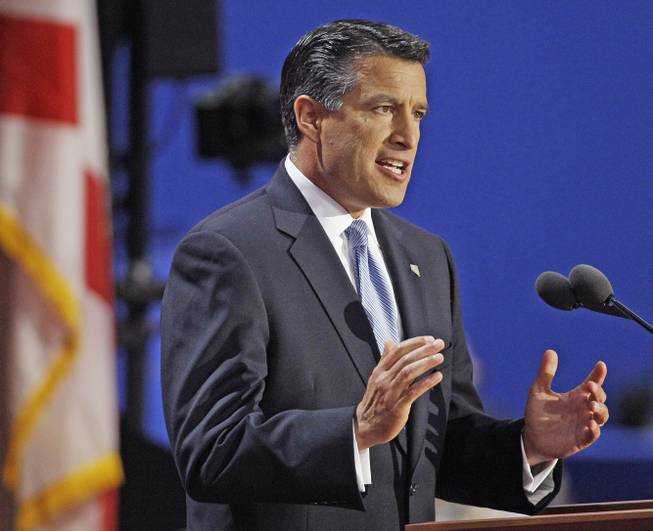 Nevada Gov. Brian Sandoval addresses delegates during the Republican National Convention in Tampa, Fla., on Tuesday, Aug. 28, 2012.