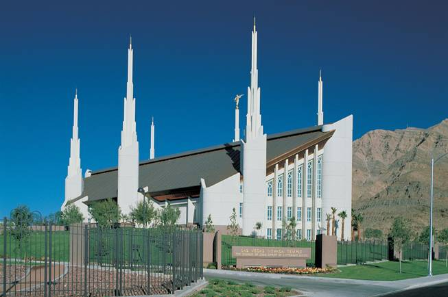 A view of the Mormon temple in Las Vegas.