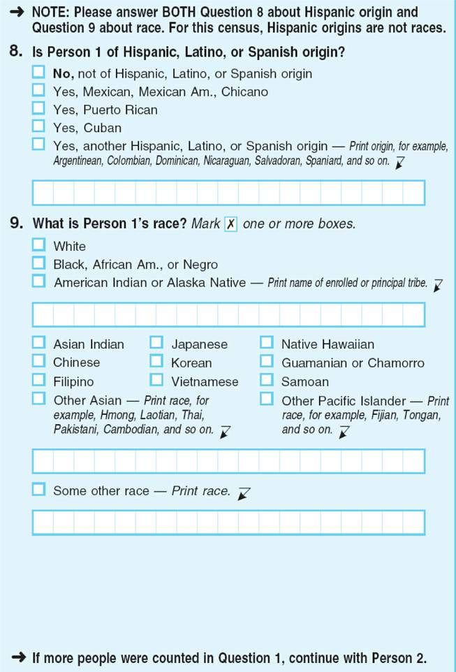 Census Bureau question on Hispanic ethnicity.