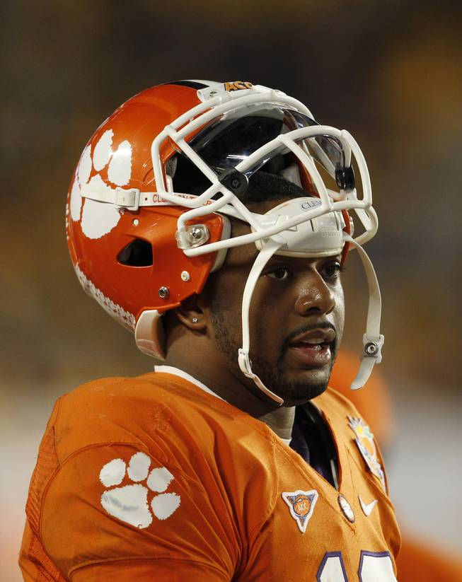 Clemson quarterback Tajh Boyd (10) on the sidelines during the second half of the Orange Bowl NCAA college football game against West Virginia, Wednesday, Jan. 4, 2012, in Miami .