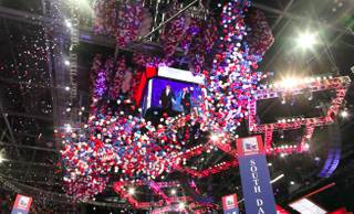 Balloons fall from the ceiling after Mitt Romney accepts the presidential nomination at the Republican National Convention in Tampa Thursday night on Aug. 30, 2012.