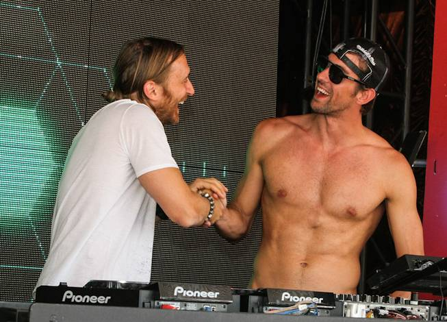 David Guetta and Michael Phelps at Encore Beach Club on Sunday, Sept. 2, 2012.