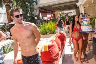 Michael Phelps and David Guetta at Encore Beach Club on Sunday, Sept. 2, 2012.