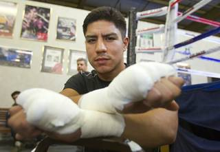Las Vegan welterweight boxer Jessie Vargas poses before a workout at Top Rank Gym Tuesday Sept. 4, 2012. Vargas will fight Aron Martinez of Los Angeles at the Hard Rock Hotel on Thursday, September 13.