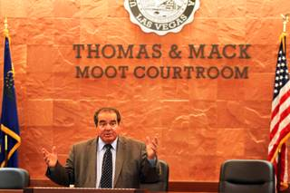 Supreme Court Justice Antonin Scalia speaks at the Boyd School of Law's Thomas and Mack Moot Courtroom at UNLV in Las Vegas on Wednesday, September 5, 2012.