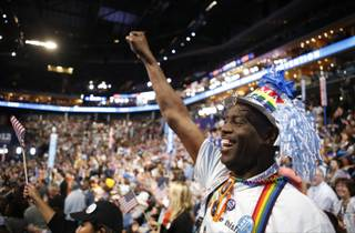 Washington state delegate Chris Porter from Seattle reacts during the Democratic National Convention in Charlotte, N.C., on Tuesday, Sept. 4, 2012.