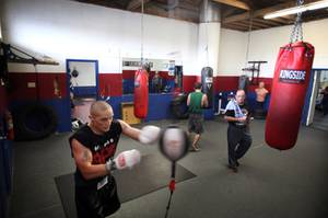Anthony Lenk, 24, of Las Vegas trains at Johnny Tocco's Boxing Gym in downtown Las Vegas on Wednesday, September 5, 2012.