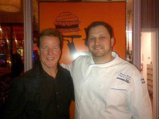 Jeff Dunham and chef Michael Wolf at Serendipity 3 in Caesars Palace.