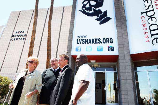 Las Vegas Mayor Carolyn Goodman, from left, poses for a photo with Dan Decker, the artistic director of Las Vegas Shakespeare Company, Michael Gill Chairman and CEO of the board of directors for Las Vegas Shakespeare Company, and Las Vegas City Councilman Ricky Barlow during a press conference at the Reed Whipple Cultural Center in Las Vegas on Friday, September 7, 2012.