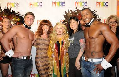 Celebrity grand marshals Kathy Griffin, Joan Rivers and Margaret Cho with Chippendales at the Rio hunks Gavin McHale and Bryan Cheatham on Friday, Sept. 7, 2012, at the Pride Parade in downtown Las Vegas.