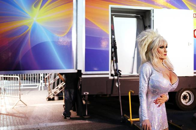 Kenneth Blake of Divas Las Vegas waits to go onstage as Dolly Parton during the 2012 Las Vegas PRIDE Night Parade in downtown Las Vegas on Friday, September 7, 2012.