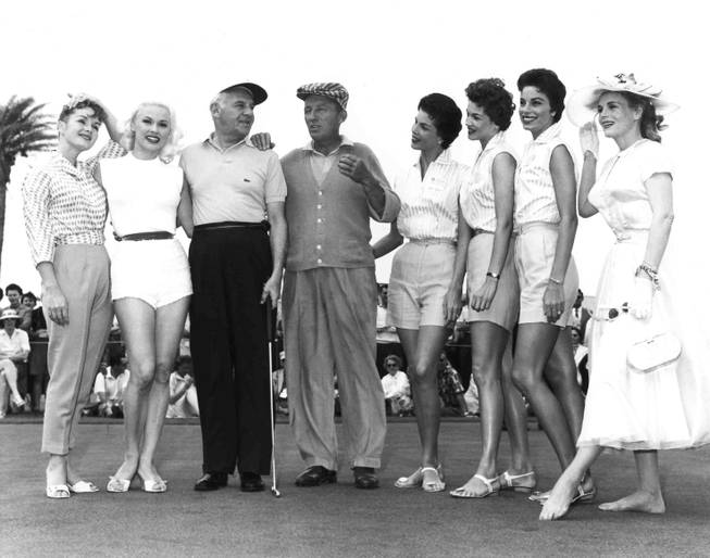 Debbie Reynolds, Mamie Van Doren, Walter Winchell, Bing Crosby, The McGuire Sisters and Marie Wilson at the Tournament of Champions at Desert Inn Golf Course in Las Vegas on April 17, 1957.