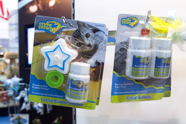 A Catnip Bubble Shooter is displayed during SuperZoo, a trade show for the pet industry, at the Mandalay Bay Convention Center Tuesday, Sept. 11, 2012.