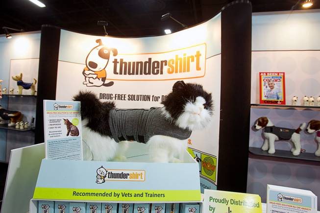 A Thundershirt  for cats is displayed during SuperZoo, a trade show for the pet industry, at the Mandalay Bay Convention Center Tuesday, Sept. 11, 2012. The product applies gentle, constant pressure to the torso. This pressure has a calming effect for cats if they are anxious or fearful. The company also makes a Thundershirt for dogs.