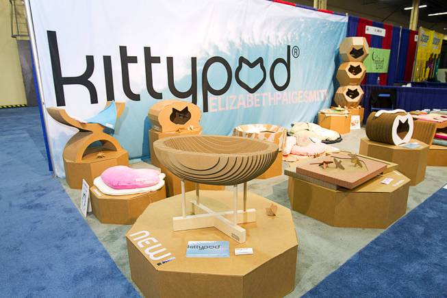 Kittypod cat furniture designed by designed by Elizabeth Paige Smith is displayed during SuperZoo, a trade show for the pet industry, at the Mandalay Bay Convention Center Tuesday, Sept. 11, 2012.