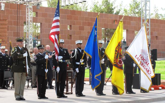 Local residents, first responders and elected officials gathered in downtown Las Vegas on Tuesday, Sept. 11, 2012, to commemorate the 11th anniversary of the Sept. 11, 2001 terrorist attacks.
