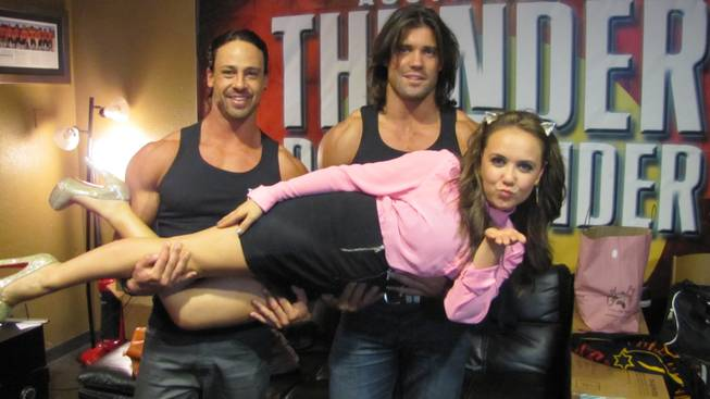 """Jessie"" star Jennifer Veal with cast members of Thunder From Down Under at the Excalibur."