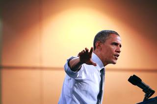 President Barack Obama speaks during a campaign stop at Cashman Center Wednesday, Sept. 12, 2012.
