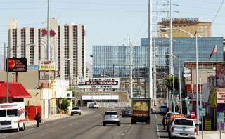Looking north up Main Street during a bus tour of downtown Las Vegas real estate projects on Thursday, September 13, 2012.