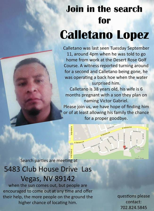 Astrid Silva, Las Vegas, is urging people to assist in the search for Calletano Lopez, the landscaper who went missing Tuesday during a downpour at Desert Rose Golf Course.