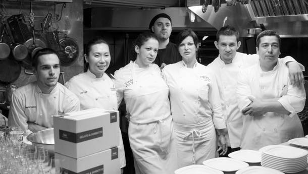 Chef Carla Pellegrino, third from right, and colleagues at the James Beard House in March 2012.