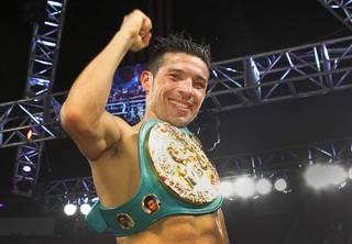 Sergio Martinez of Argentina celebrates his victory over WBC middleweight champion Julio Cesar Chavez Jr. of Mexico after their title fight at the Thomas & Mack Center on Saturday, Sept. 15, 2012.