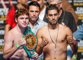 Canelo Alvarez and Josesito Lopez weigh in at MGM Grand Garden Arena on Friday, Sept. 14, 2012. Alvarez defends his WBC super welterweight title against Lopez at the arena Saturday, Sept. 15, 2012.