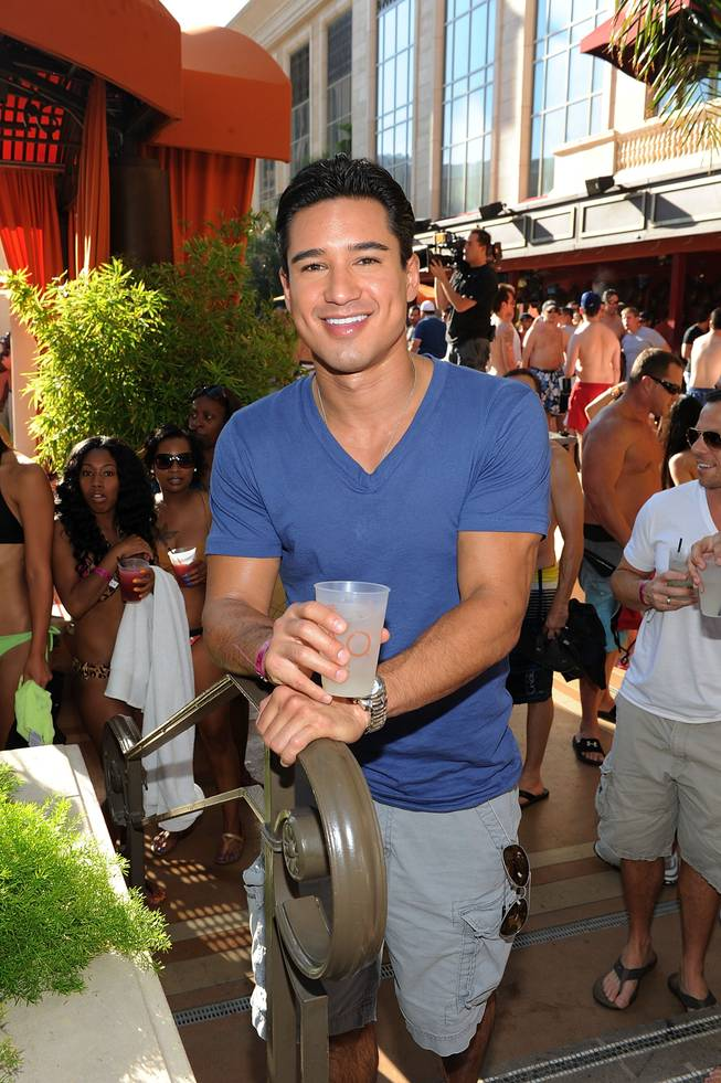 Mario Lopez celebrates his bachelor party at Tao Beach in the Venetian on Friday, Sept. 14, 2012.