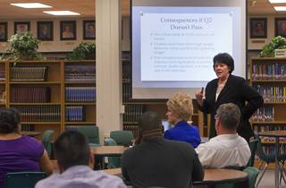 Joyce Haldeman, Clark County School District associate superintendent for community and government relations, speaks during an informational meeting at the Bonanza High School library Tuesday, Sept. 18, 2012. CCSD officials answered questions related to a property tax initiative that will be on the ballot in November.  The six-year capital levy, if approved, will raise $669 million for high-need school maintenance and renovations.