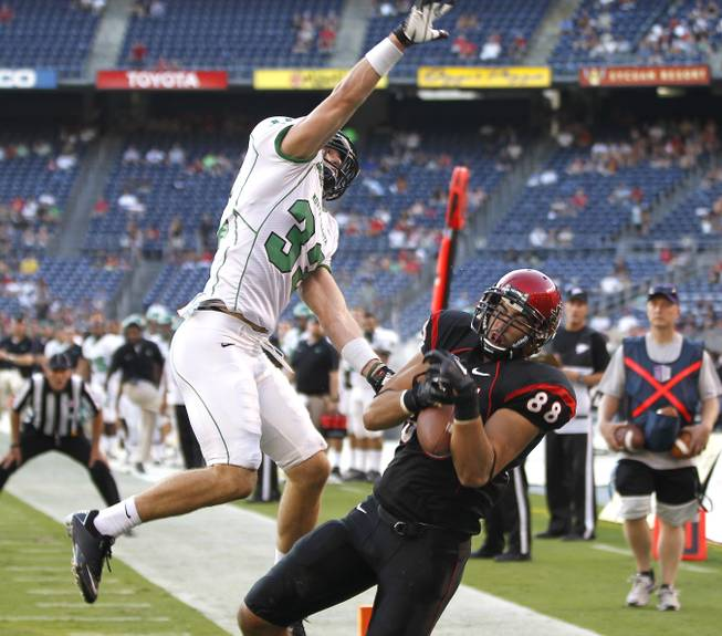 San Diego State's Gavin Escobar (right) hauls in a touchdown pass during in the Aztecs' 49-41 victory against North Dakota on Saturday, Sept. 15, 2012, in San Diego.