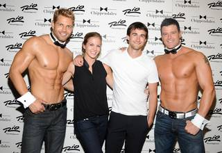 Figure skater Ryan Bradley with his girlfriend Erin Reed, plus, Jaymes Vaughan, left, and Nathan Minor at Chippendales in the Rio on Wednesday, Sept. 19, 2012.