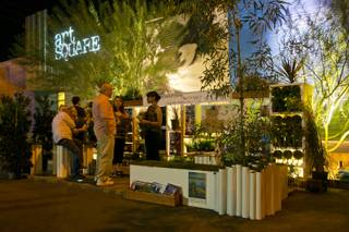 The Downtown Backyard Project set up their mini-urban park in a 9-foot by 14-foot wide parking space in the Arts District, Downtown Las Vegas, in support of Park(ing) Day, a world wide event to promote green spaces in urban environments, Friday Sept. 21, 2012.