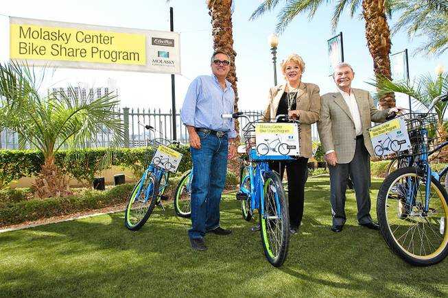 From left, Rich Worthington, president and CEO of the Molasky Group of Companies, Las Vegas Mayor Carolyn Goodman and Irwin Molasky, chairman of the Molasky Group, are shown at an event to introduce a bike-share program, Sept. 21, 2012.
