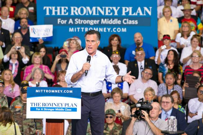 Presidential hopeful Mitt Romney speaks to supporters during a rally at the Cox Pavilion, UNLV, Friday Sept. 21, 2012.