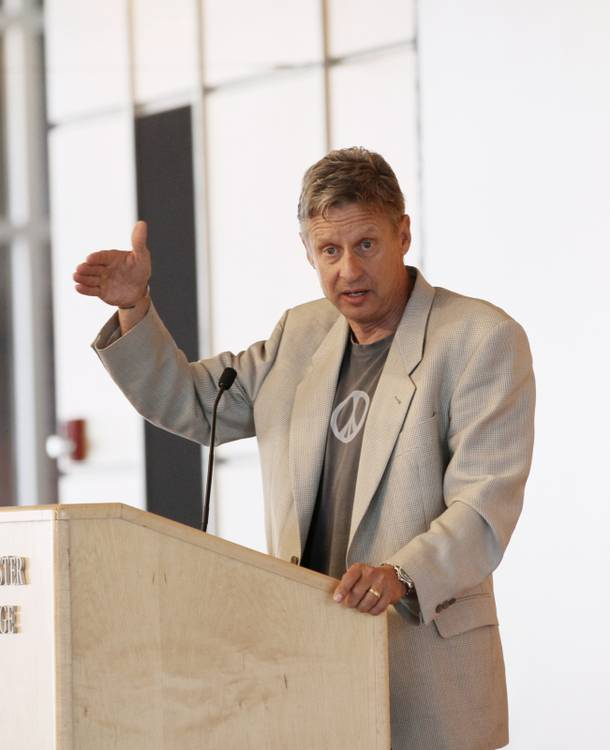 Gary Johnson, the Libertarian Party candidate for president, greets former Minnesota Gov. Jessie Ventura,  at Macalester College Friday, Sept. 21, 2012 in St. Paul, Minn.