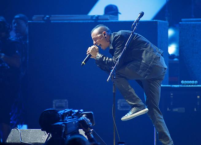 Chester Bennington of Linkin Park performs during the second night of the 2012 iHeartRadio Music Festival at MGM Grand Garden Arena on Saturday, Sept. 22, 2012.