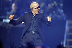 Pitbull performs during the second night of the 2012 iHeartRadio Music Festival at MGM Grand Garden Arena on Saturday, Sept. 22, 2012.